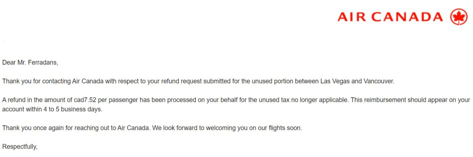 air canada refund email